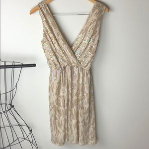 Express Cream Holo Sequined Cocktail Dress